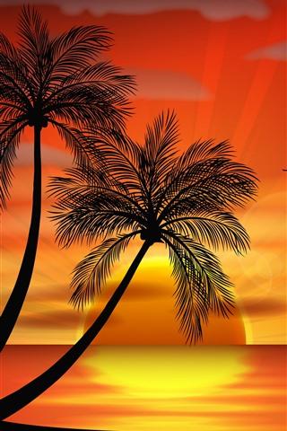 iPhone Обои Пальмы, птицы, закат, векторное изображение