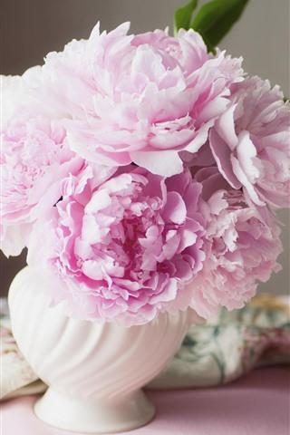 iPhoneの壁紙 ピンクの牡丹、花瓶、シルク