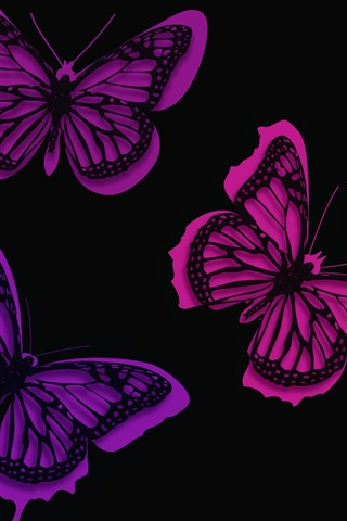 iPhone Wallpaper Purple butterflies, creative picture