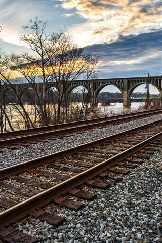 iPhone Wallpaper Railroad, bridge, river, trees, clouds, dusk