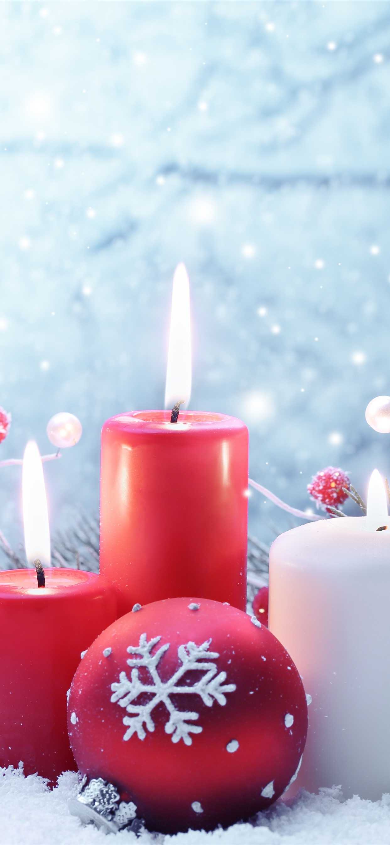 Red And White Candles Flame Snow Christmas Balls