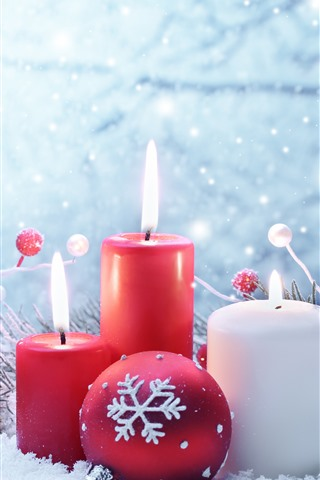 iPhone Wallpaper Red and white candles, flame, snow, Christmas balls