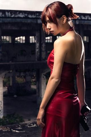 iPhone Papéis de Parede Resident Evil, menina de saia vermelha