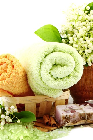 iPhone Wallpaper SPA themed, towel, lily of the valley, soap