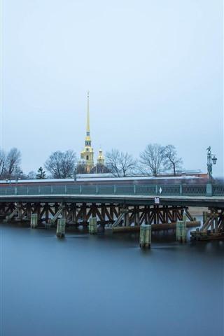 iPhone Wallpaper Saint Petersburg, bridge, river, city, Russia