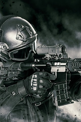 iPhone Wallpaper Soldier, armament, assault rifle