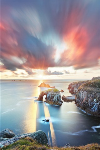 iPhone Wallpaper South West England, Cornwall, sea, arch, clouds, sunset
