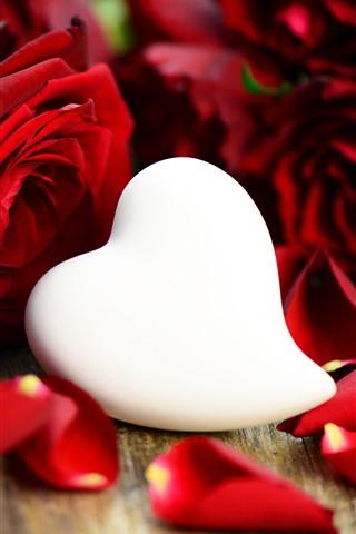 White love heart red rose