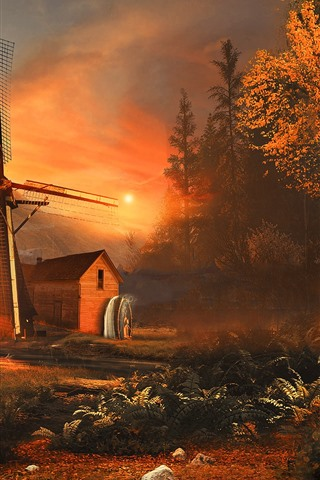 iPhone Wallpaper Windmill, trees, sunshine, autumn, morning, fog