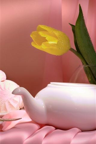iPhone Wallpaper Yellow tulip, teapot, tea, cakes