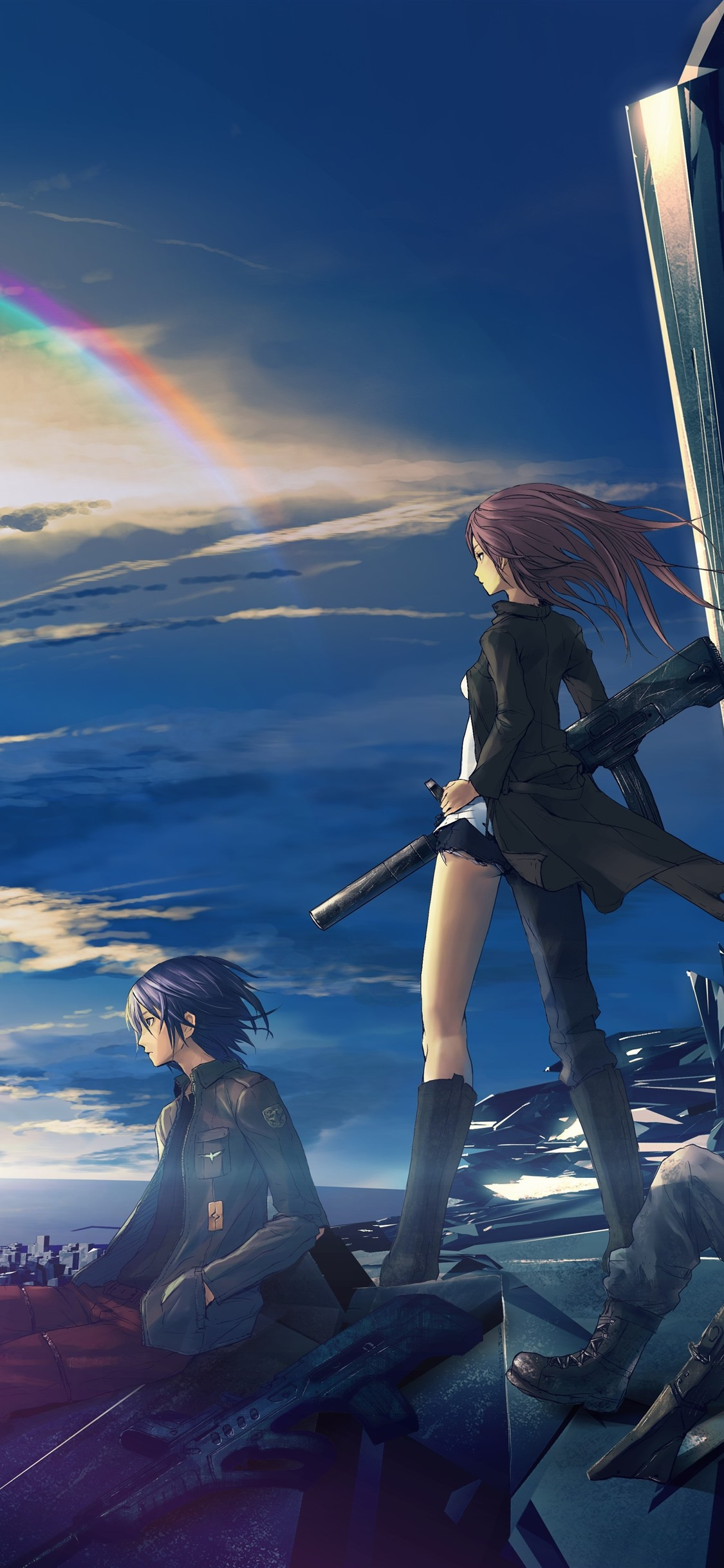 Anime Girl And Boy Future City Rainbow 1242x2688 Iphone 11 Pro Xs Max Wallpaper Background Picture Image