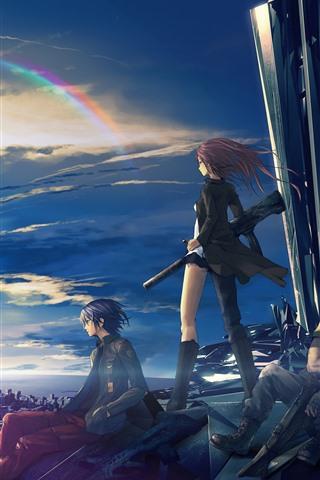 iPhone Wallpaper Anime girl and boy, future city, rainbow