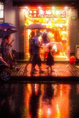 iPhone Wallpaper China, city, night, street, shop, rainy, umbrella, people