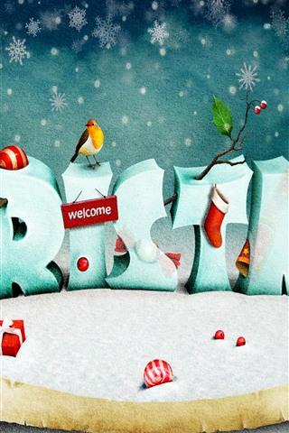 iPhone Papéis de Parede Natal, pássaros, neve, imagens de arte