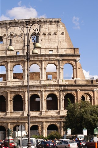 iPhone Wallpaper Colosseum, Rome, Italy, city, street