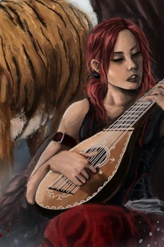 iPhone Wallpaper Girl and tiger, violin, art painting