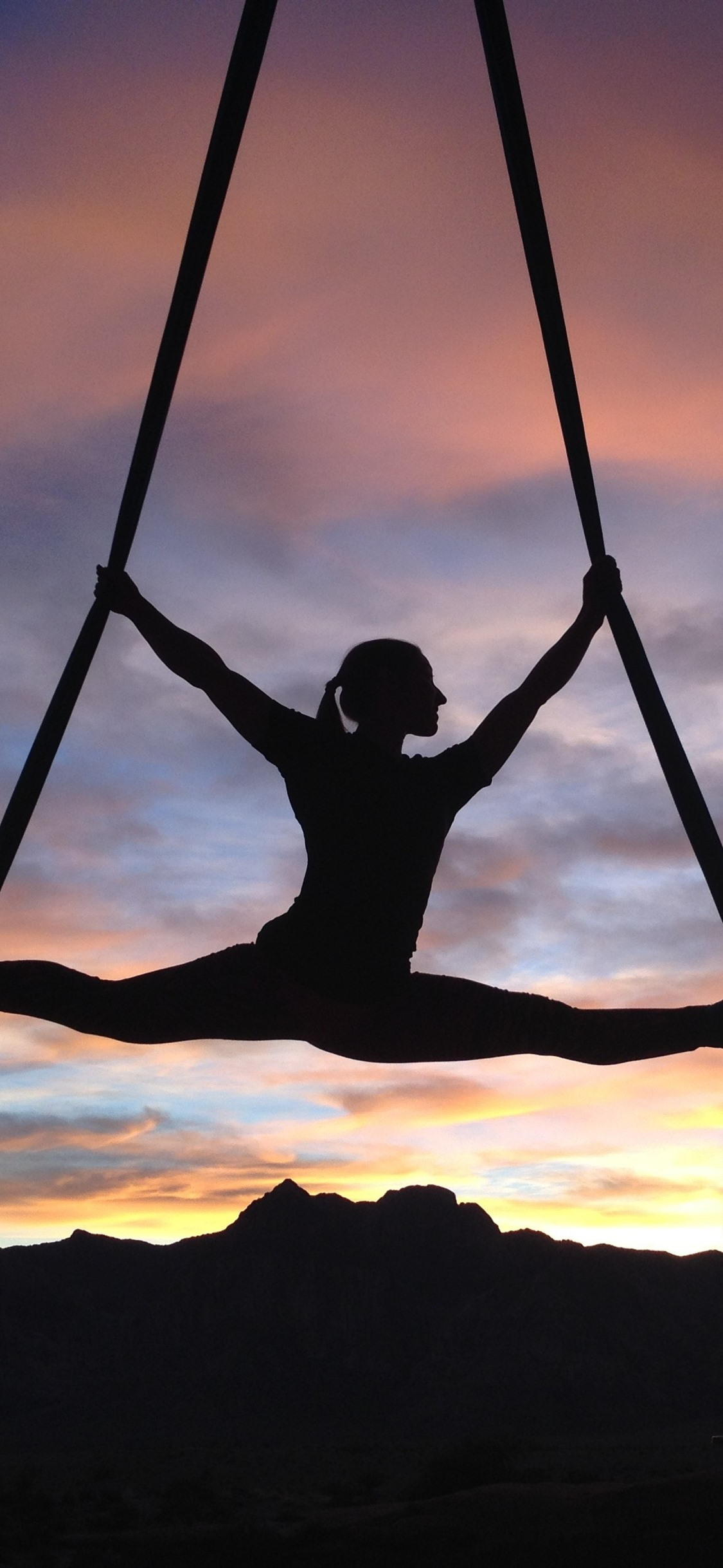 Girl Gymnast Silhouette Clouds Sunset 1125x2436 Iphone 11 Pro Xs X Wallpaper Background Picture Image