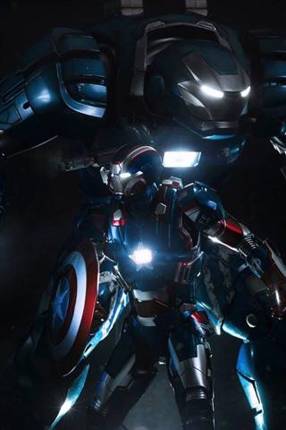 iPhone Обои Железный Человек, Капитан Америка, щит