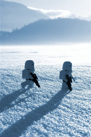 iPhone Wallpaper Lego, toy, soldier, snow