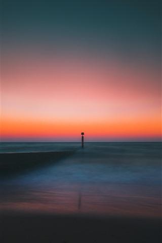 iPhone Wallpaper Lighthouse, horizon, sea, dusk
