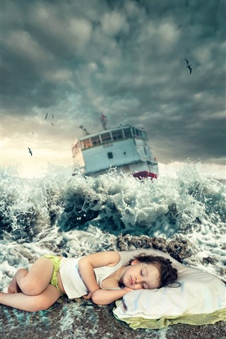 iPhone Wallpaper Little girl sleep on beach, sea waves, splash, ship