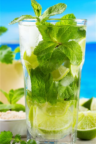 iPhone Wallpaper Mojito, cocktail, lime, ice, sea