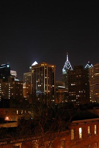 iPhone Wallpaper Philadelphia, city, night, USA