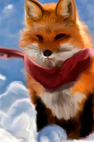 iPhone Wallpaper Red fox, scarf, art painting