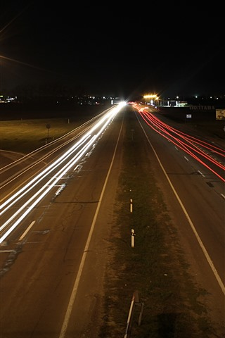 iPhone Wallpaper Road, light lines, night, city, Russia