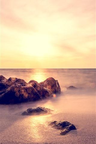 iPhone Wallpaper Rocks, sands, sea, fog
