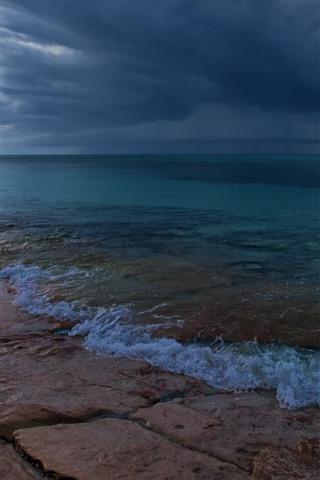 iPhone Wallpaper Sea, coast, cloudy sky, dusk