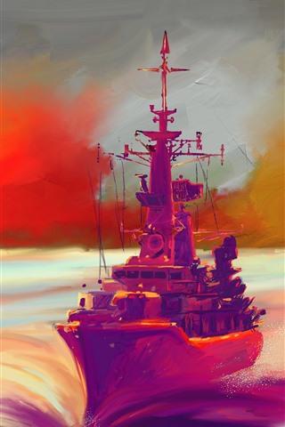 iPhone Wallpaper Sea, ship, waves, art painting