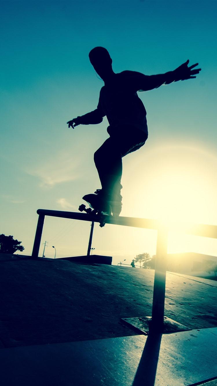 Skateboard Sport Silhouette 1242x2688 Iphone Xs Max