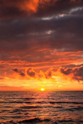 iPhone Wallpaper Sunset, sea, clouds, sail ship