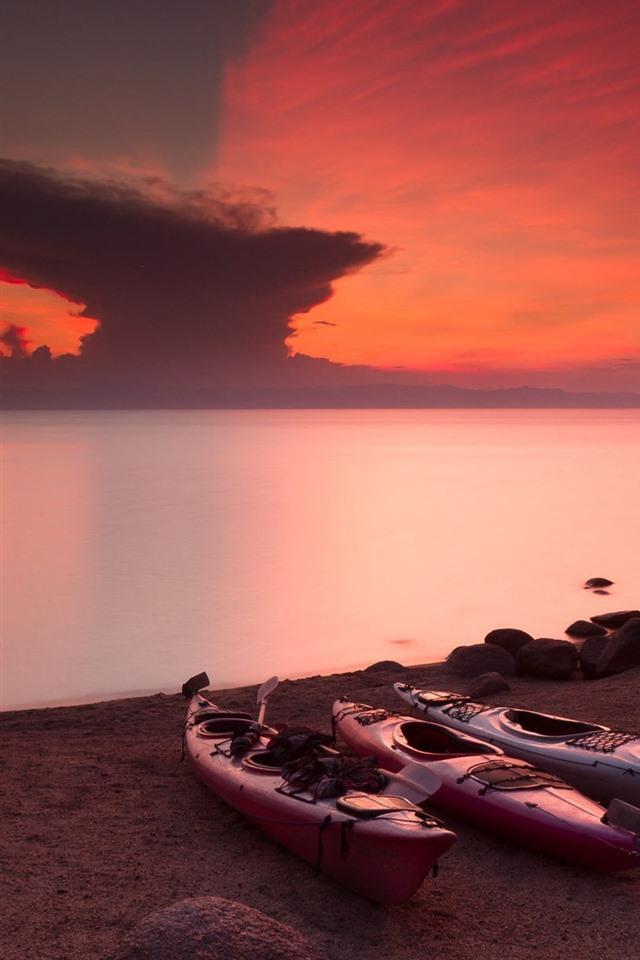 Zimbabwe Lake Malawi Red Sky Sunset 750x1334 Iphone 8 7 6
