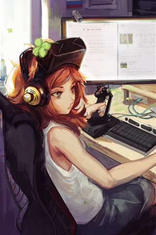 iPhone Wallpaper Anime girl play PC games