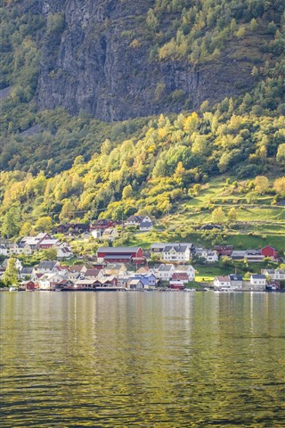 iPhone Wallpaper Beautiful landscape, Norway, village, slope, trees, river