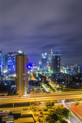 iPhone Wallpaper Cityscape, Guangzhou, skyscrapers, night, lights, roads