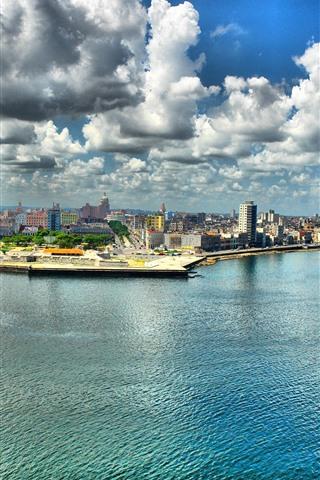 iPhone Wallpaper Cuba, Havana, city, sea, clouds, skyscrapers