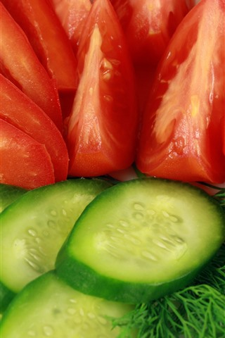 iPhone Wallpaper Cucumber and tomato slices