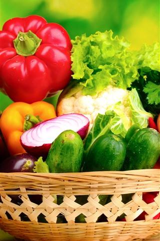 iPhone Wallpaper Different kinds of vegetables, basket