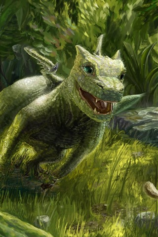 iPhone Wallpaper Dragon and squirrel, green style, art picture