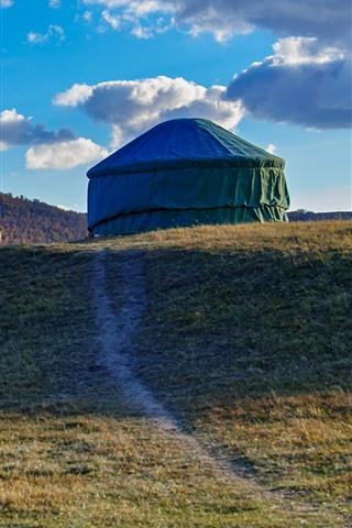 iPhone Wallpaper Grassland, tent, clouds, autumn