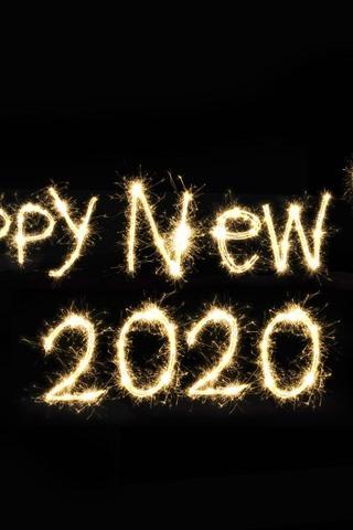 iPhone Papéis de Parede Feliz ano novo 2020, fogos de artifício, fundo preto