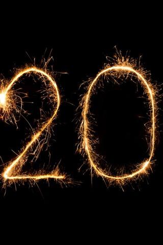 iPhone Papéis de Parede Feliz ano novo 2020, fogos de artifício, faíscas, fundo preto