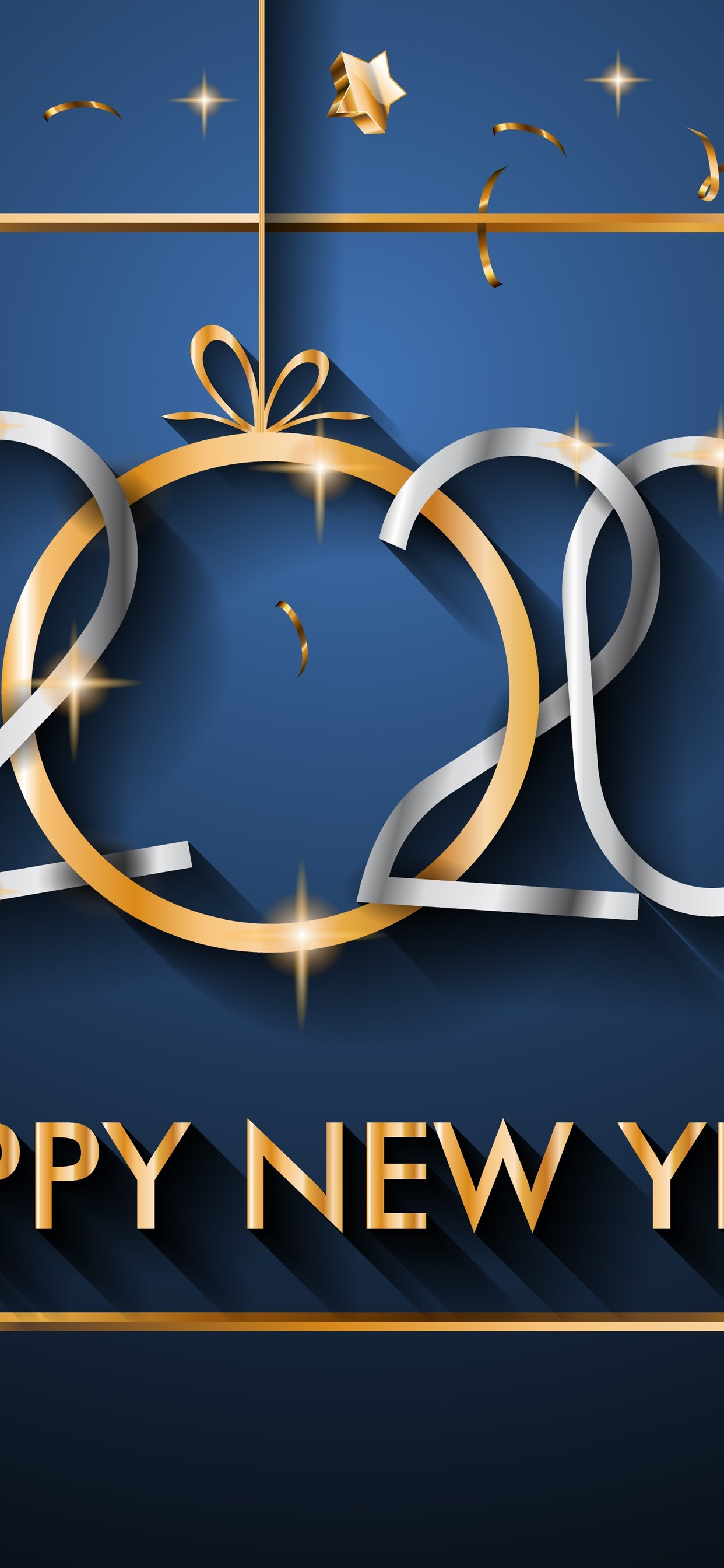 Happy New Year 2020 Stars Golden 1242x2688 Iphone 11 Pro Xs Max Wallpaper Background Picture Image