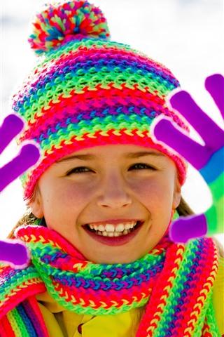 iPhone Wallpaper Happy little girl, rainbow color, coat, hat, scarf, glove