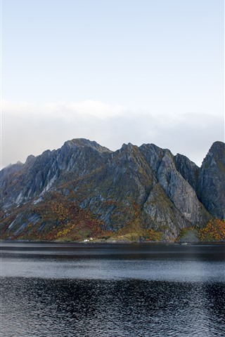 iPhone Wallpaper Mountains, bay, Norway, nature landscape