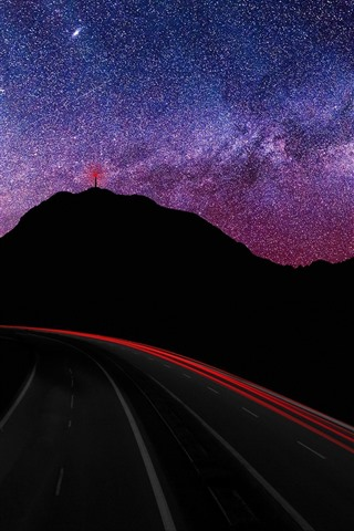 iPhone Wallpaper Mountains, starry, night, roads