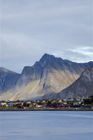 iPhone Wallpaper Norway, city, houses, mountains, bay, clouds
